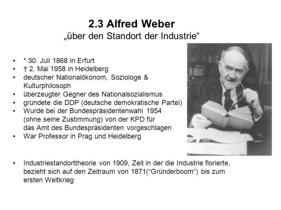 "2.3 Alfred Weber ""über den Standort der Industrie"