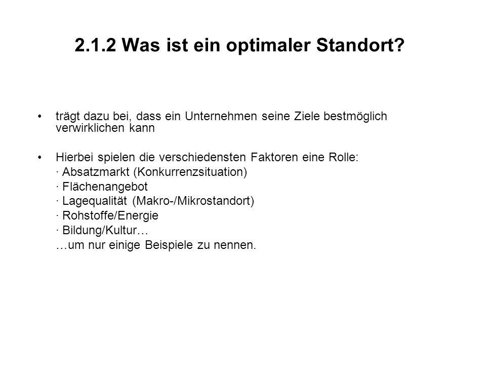 2.1.2 Was ist ein optimaler Standort