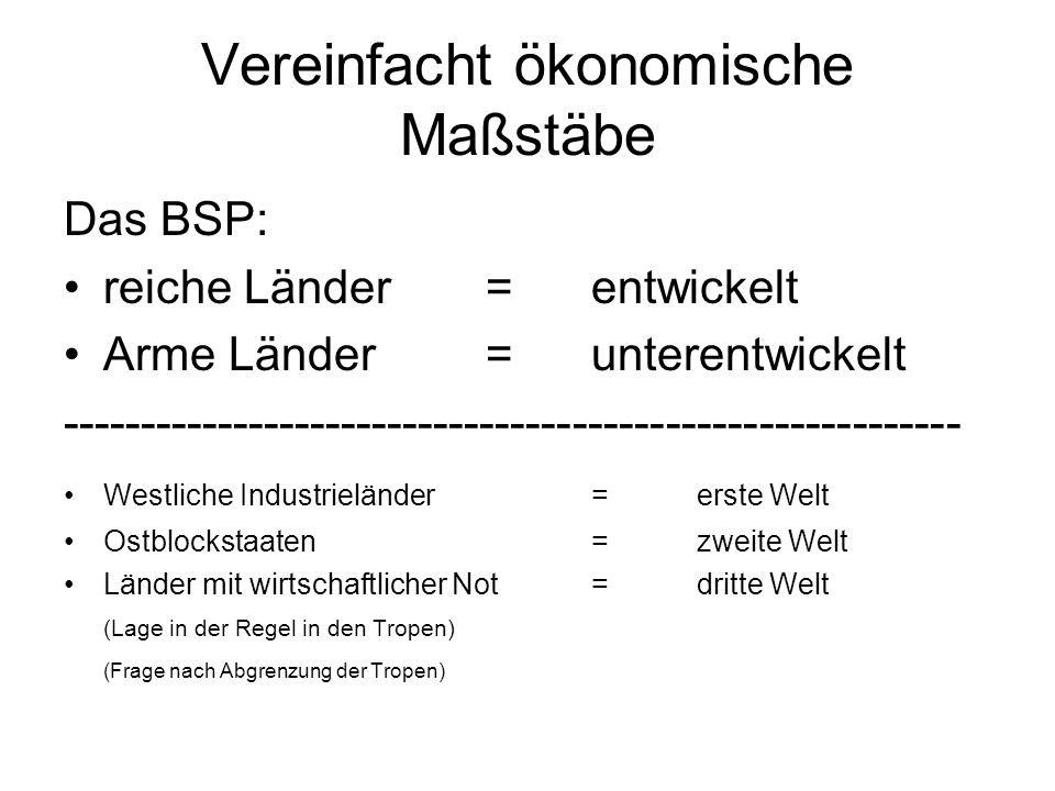 Vereinfacht ökonomische Maßstäbe