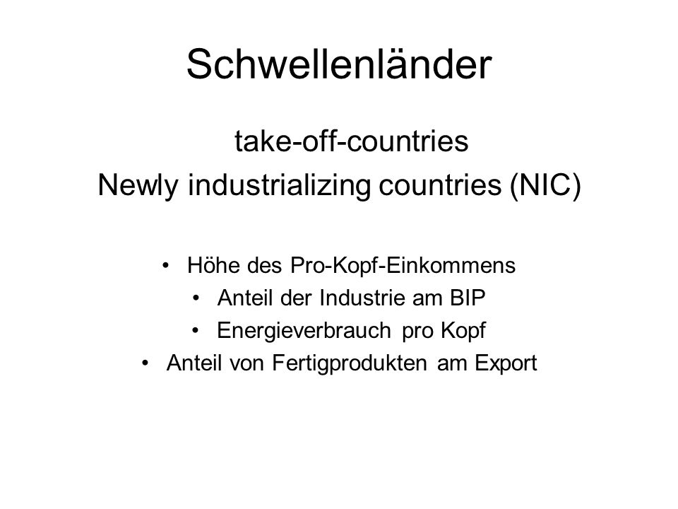 Schwellenländer take-off-countries