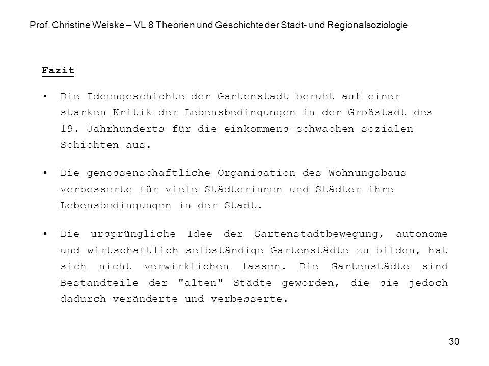 Prof. Christine Weiske – VL 8 Theorien und Geschichte der Stadt- und Regionalsoziologie