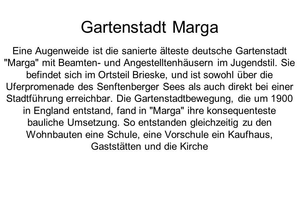 Gartenstadt Marga Eine Augenweide ist die sanierte älteste deutsche Gartenstadt Marga mit Beamten- und Angestelltenhäusern im Jugendstil.