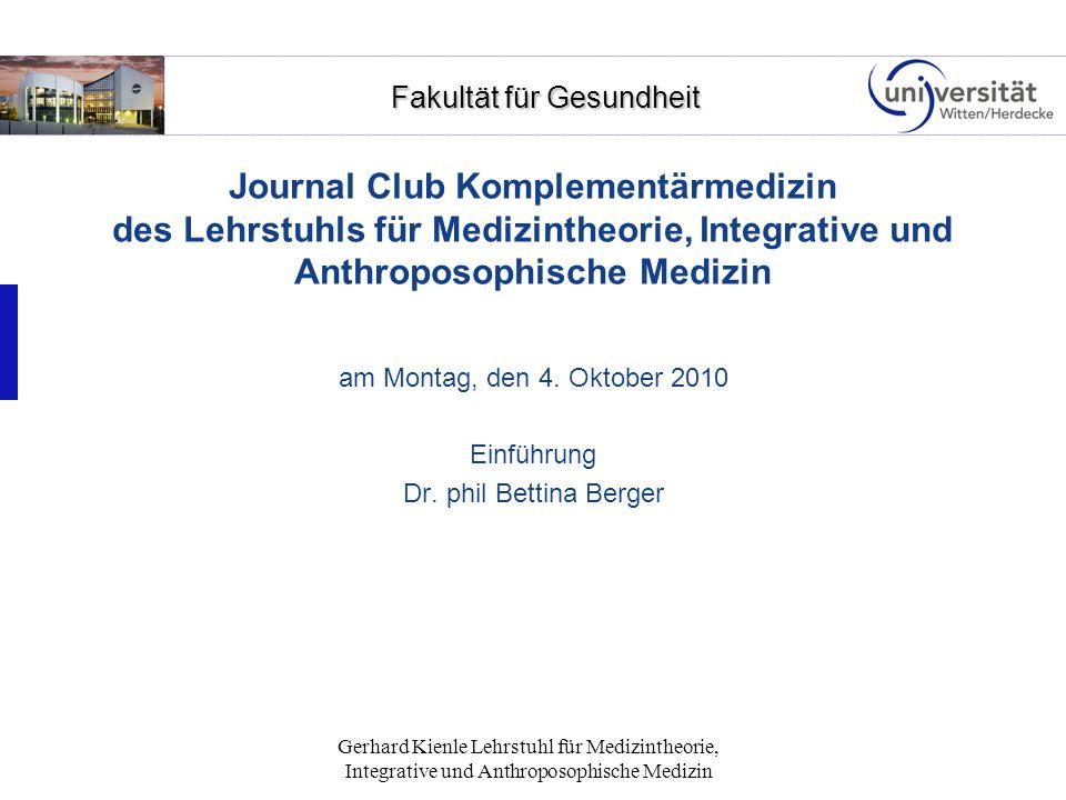 Journal Club Komplementärmedizin des Lehrstuhls für Medizintheorie, Integrative und Anthroposophische Medizin