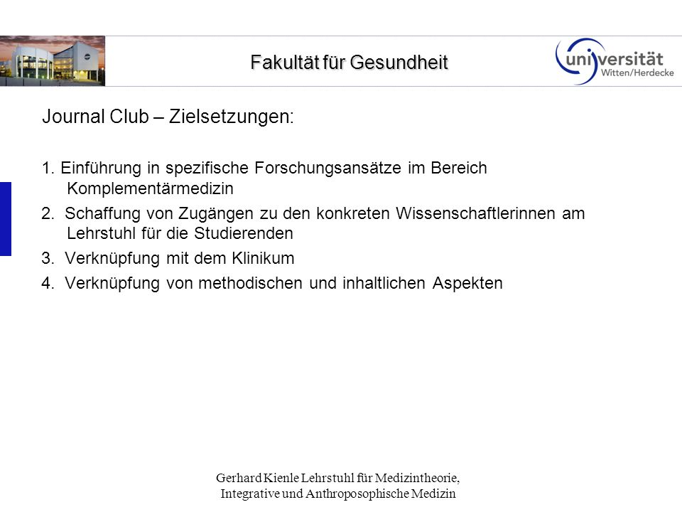 Journal Club – Zielsetzungen: