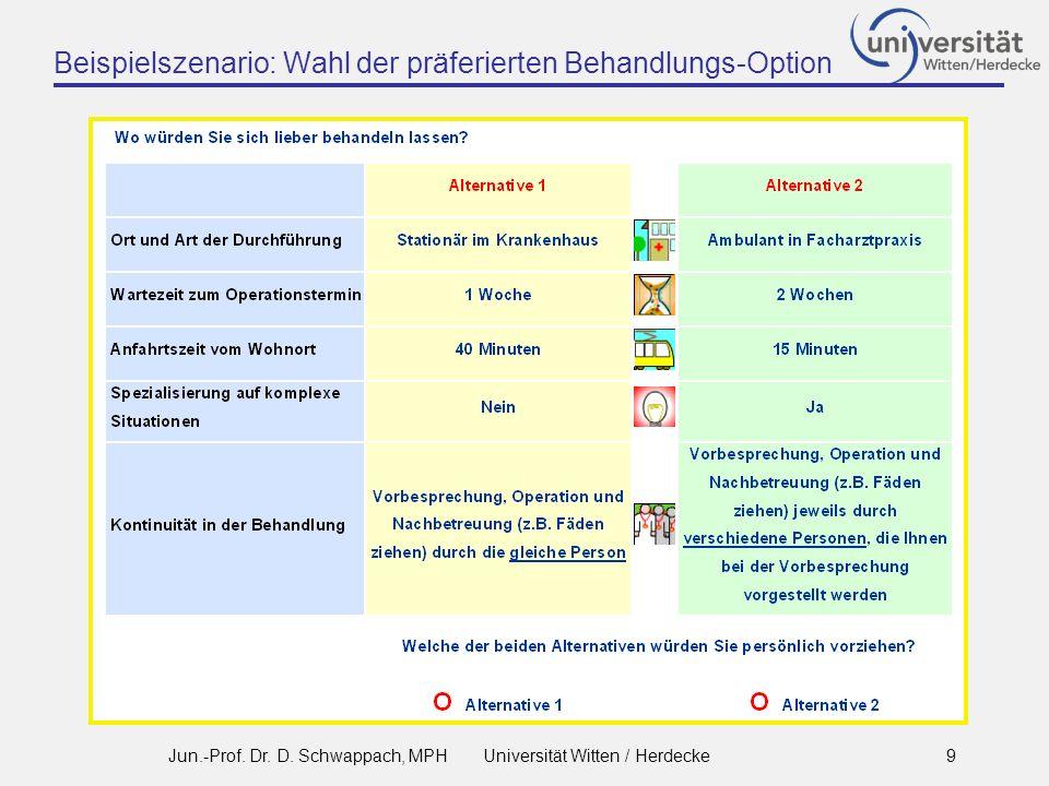 Beispielszenario: Wahl der präferierten Behandlungs-Option