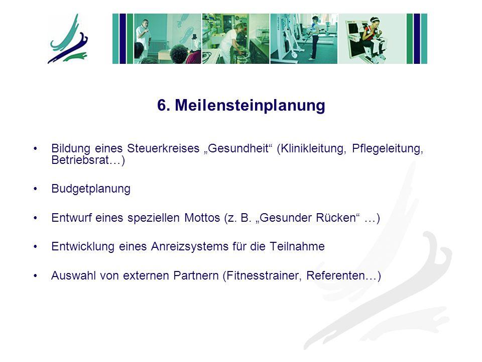 """6. Meilensteinplanung Bildung eines Steuerkreises """"Gesundheit (Klinikleitung, Pflegeleitung, Betriebsrat…)"""
