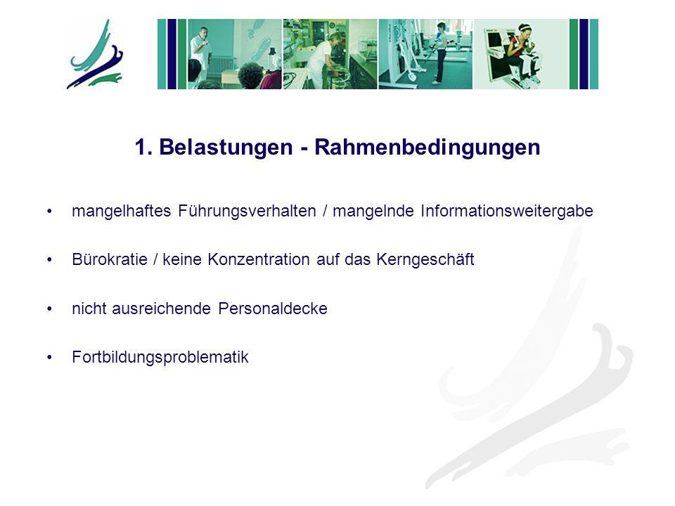 1. Belastungen - Rahmenbedingungen