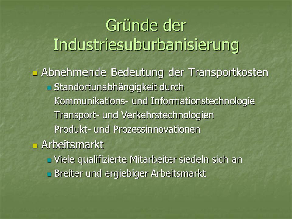 Gründe der Industriesuburbanisierung
