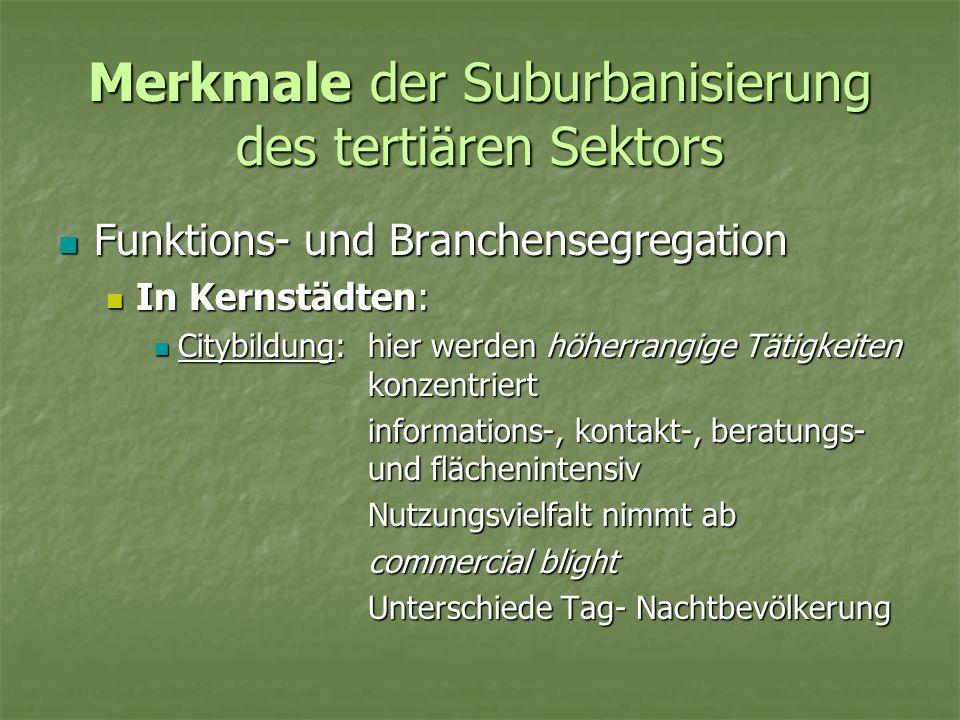 Merkmale der Suburbanisierung des tertiären Sektors