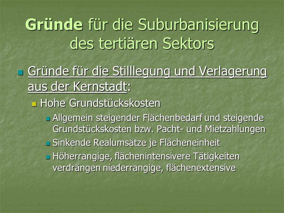 Gründe für die Suburbanisierung des tertiären Sektors