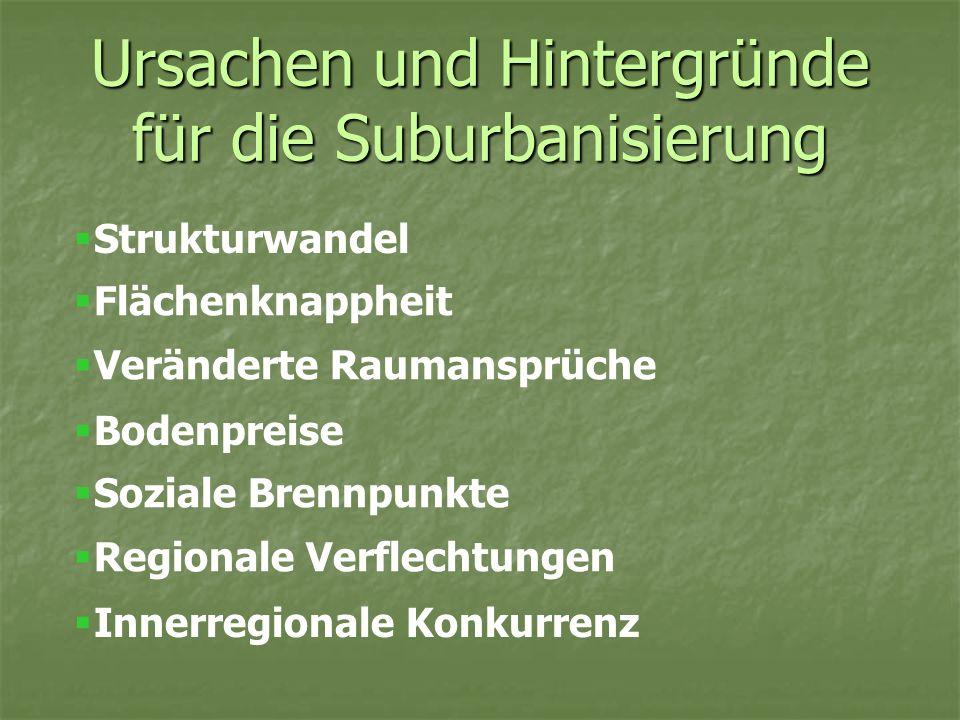 Ursachen und Hintergründe für die Suburbanisierung