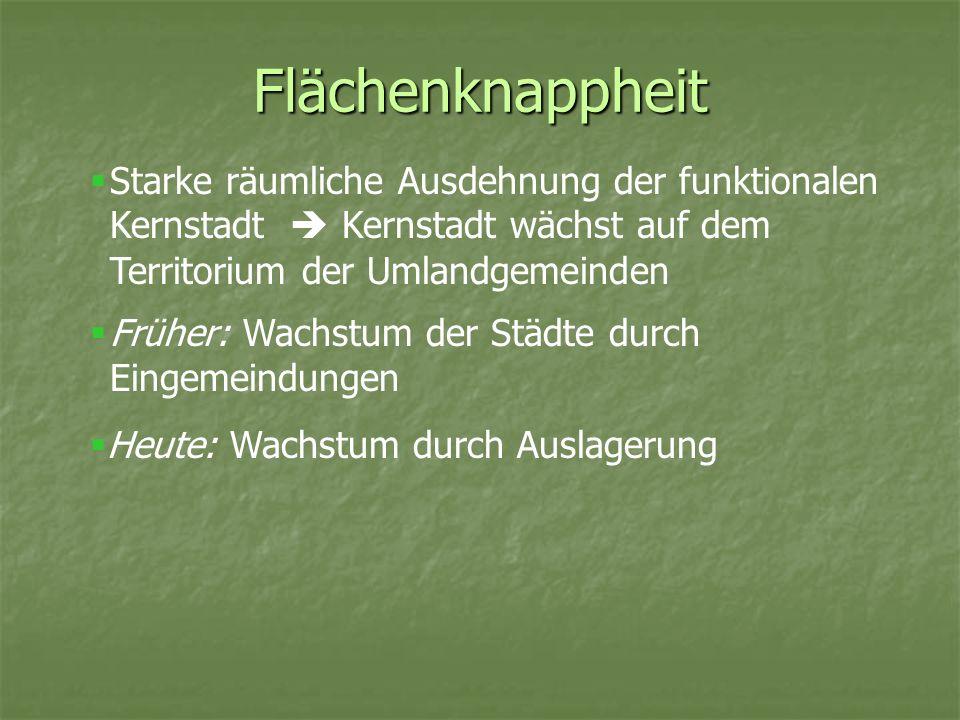 Flächenknappheit Starke räumliche Ausdehnung der funktionalen Kernstadt  Kernstadt wächst auf dem Territorium der Umlandgemeinden.