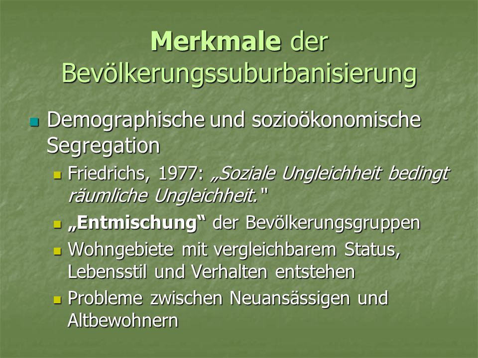 Merkmale der Bevölkerungssuburbanisierung