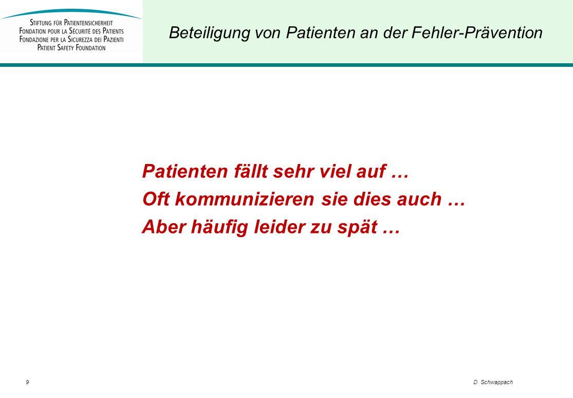 Beteiligung von Patienten an der Fehler-Prävention