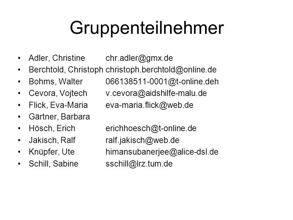 Gruppenteilnehmer Adler, Christine chr.adler@gmx.de