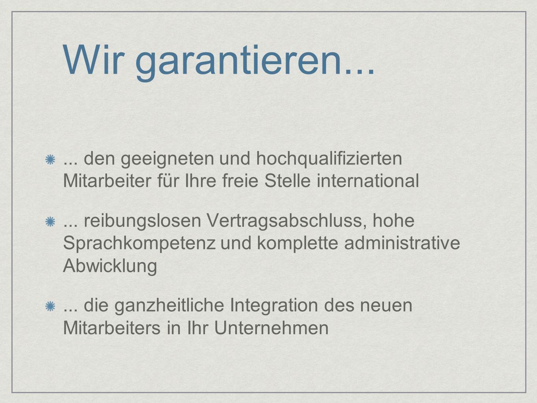 Wir garantieren... ... den geeigneten und hochqualifizierten Mitarbeiter für Ihre freie Stelle international.