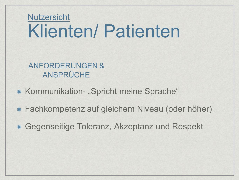 Nutzersicht Klienten/ Patienten