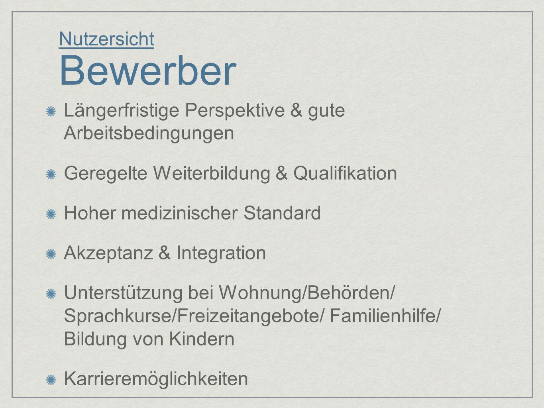 Nutzersicht Bewerber Längerfristige Perspektive & gute Arbeitsbedingungen. Geregelte Weiterbildung & Qualifikation.