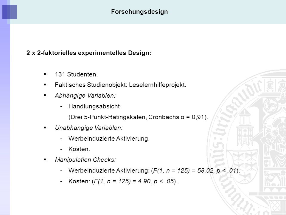 Forschungsdesign 2 x 2-faktorielles experimentelles Design: 131 Studenten. Faktisches Studienobjekt: Leselernhilfeprojekt.