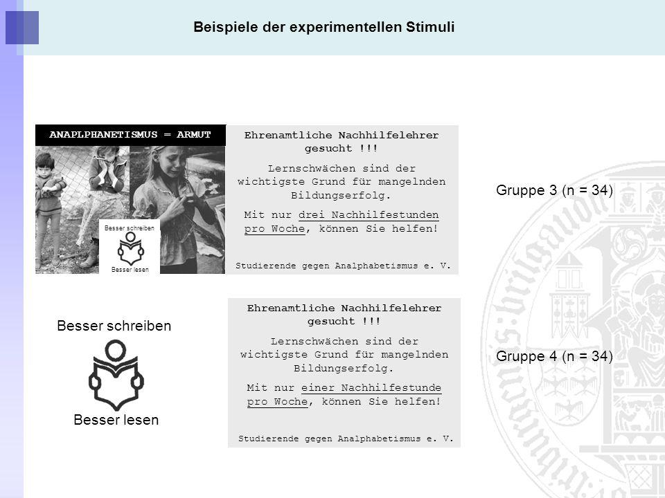 Beispiele der experimentellen Stimuli