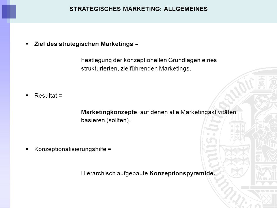 STRATEGISCHES MARKETING: ALLGEMEINES