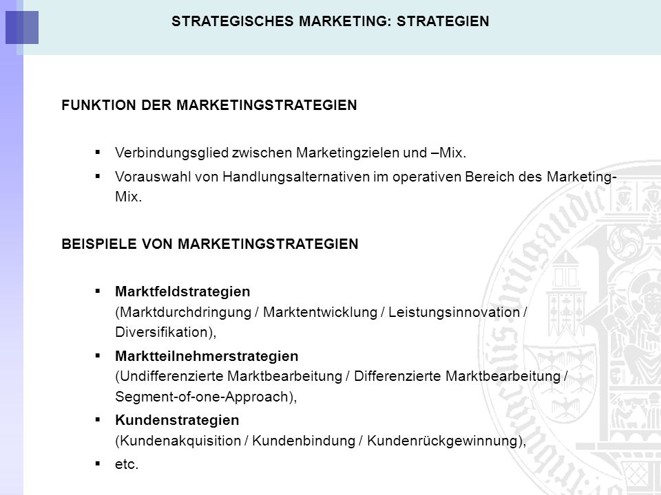 STRATEGISCHES MARKETING: STRATEGIEN