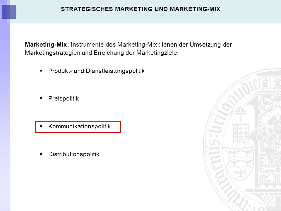 STRATEGISCHES MARKETING UND MARKETING-MIX