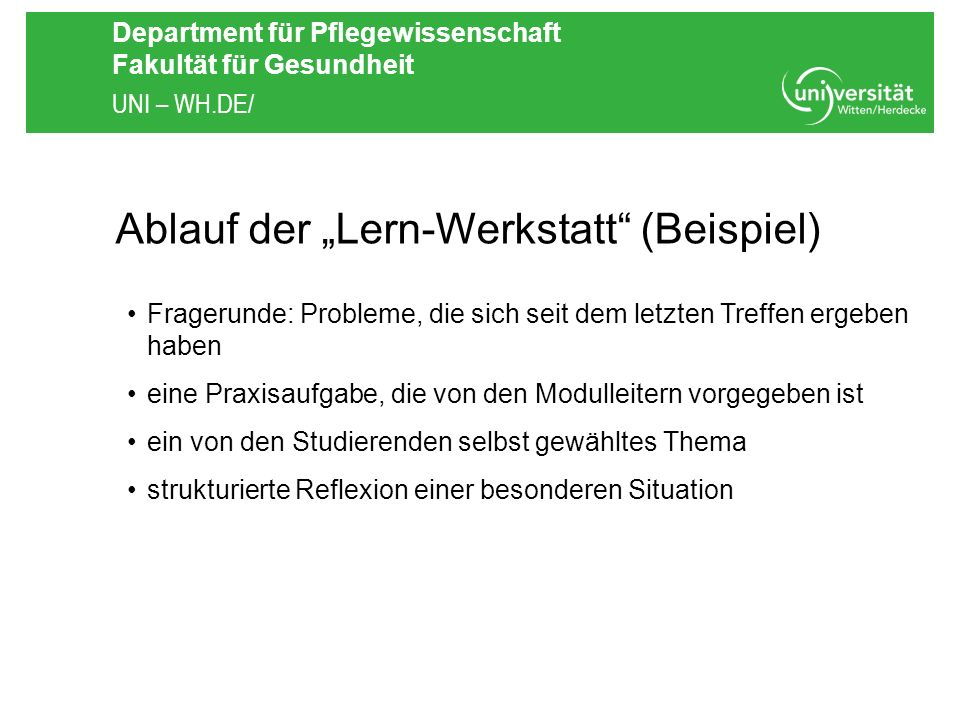 """Ablauf der """"Lern-Werkstatt (Beispiel)"""