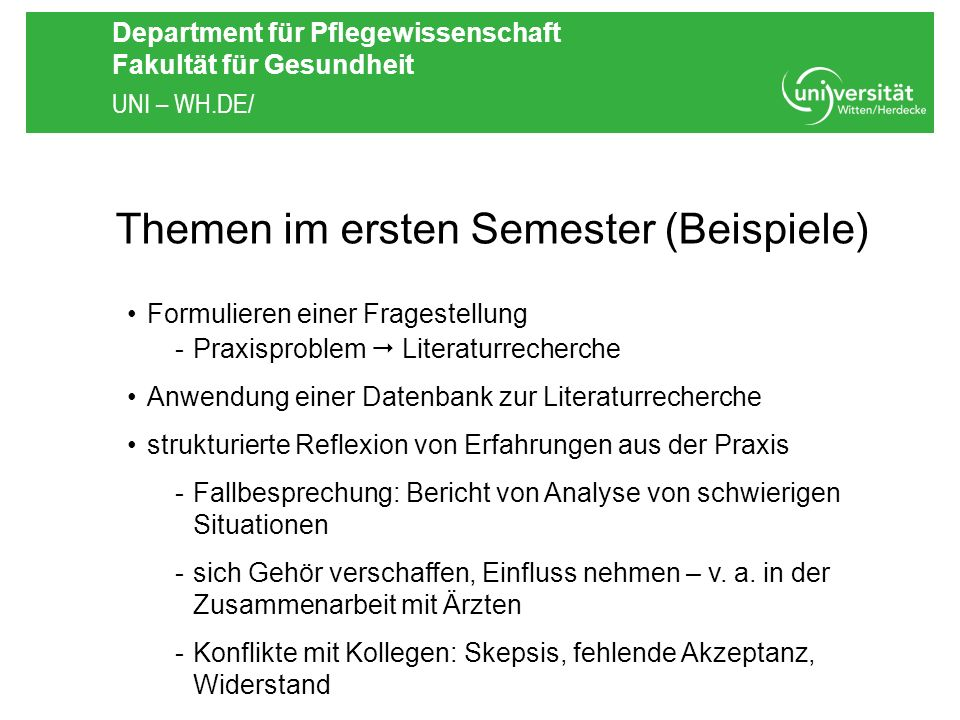 Themen im ersten Semester (Beispiele)