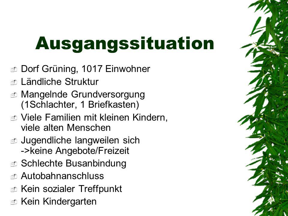 Ausgangssituation Dorf Grüning, 1017 Einwohner Ländliche Struktur