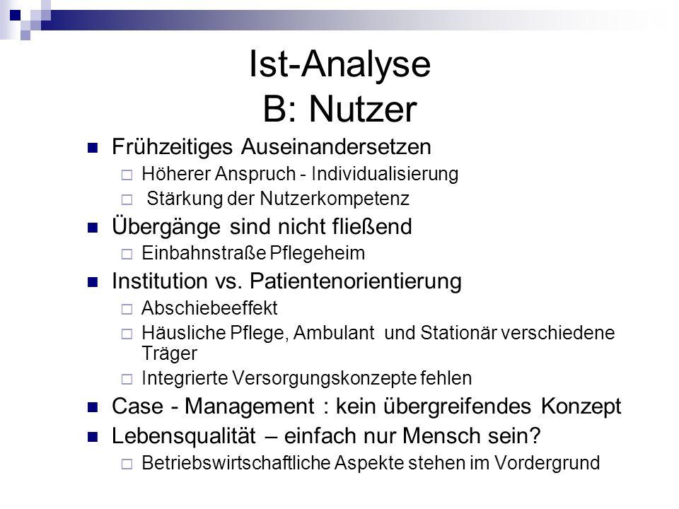 Ist-Analyse B: Nutzer Frühzeitiges Auseinandersetzen