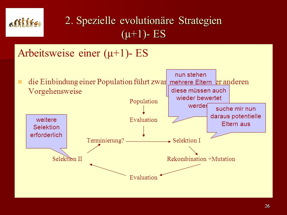 2. Spezielle evolutionäre Strategien (μ+1)- ES