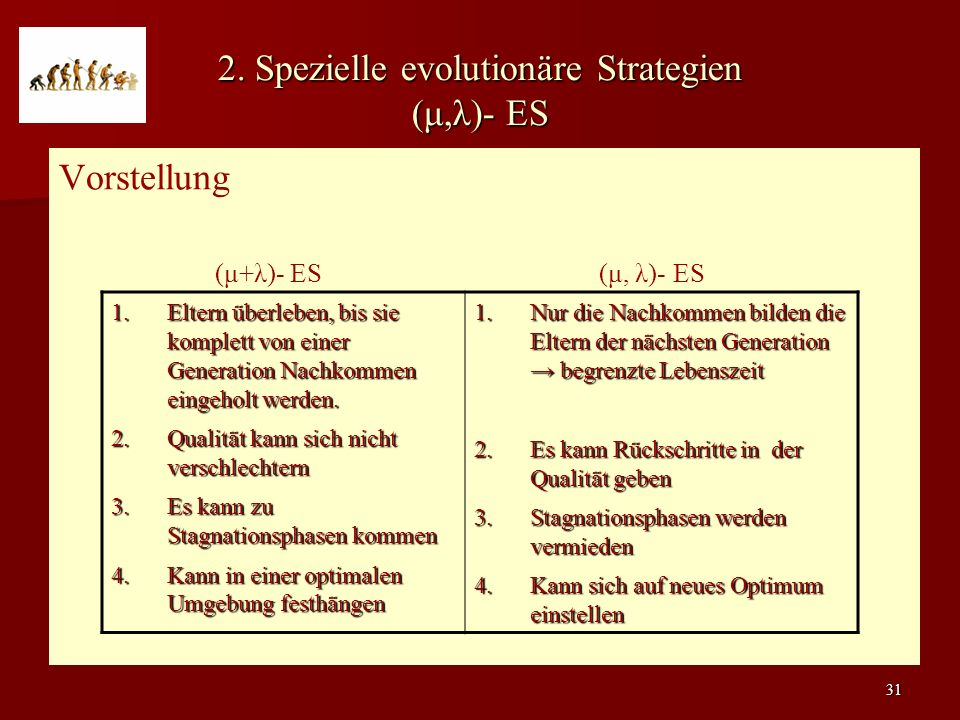 2. Spezielle evolutionäre Strategien (μ,λ)- ES