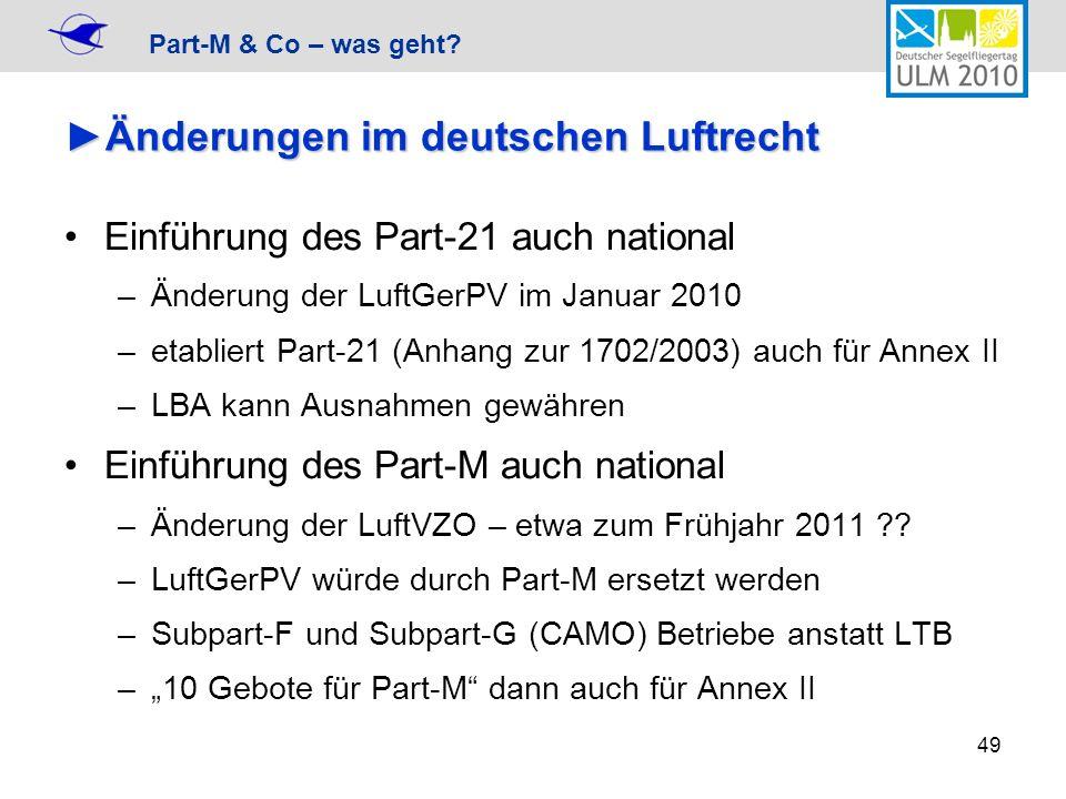 Änderungen im deutschen Luftrecht