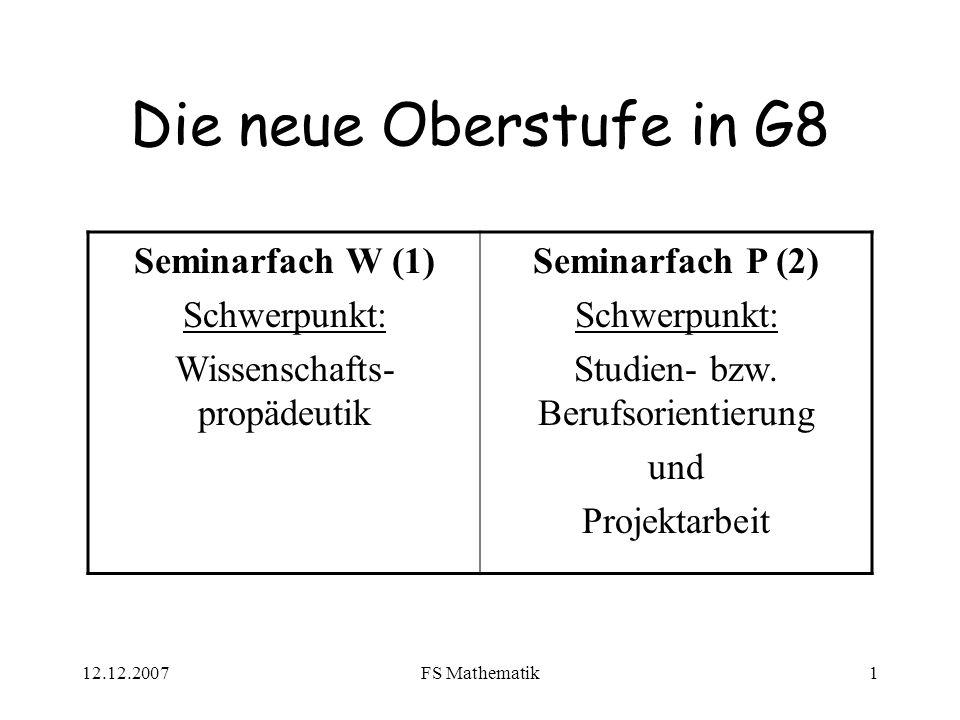 Die neue Oberstufe in G8 Seminarfach W (1) Schwerpunkt: