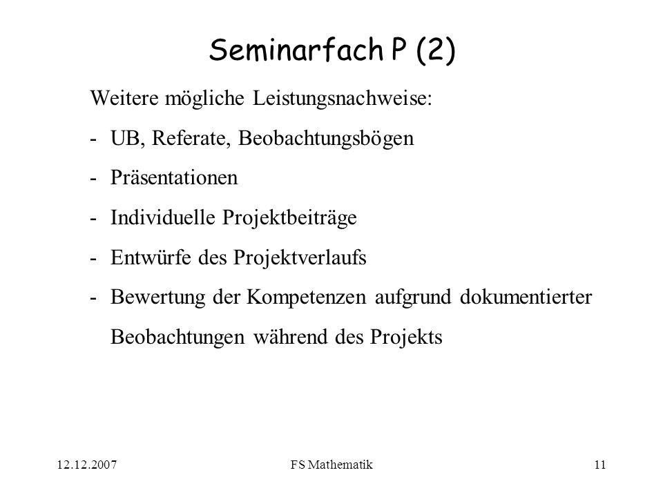 Seminarfach P (2) Weitere mögliche Leistungsnachweise: