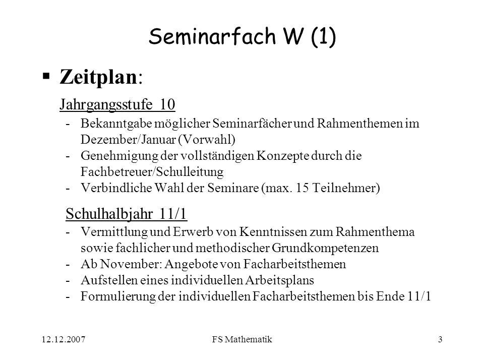 Seminarfach W (1) Zeitplan: Jahrgangsstufe 10 Schulhalbjahr 11/1