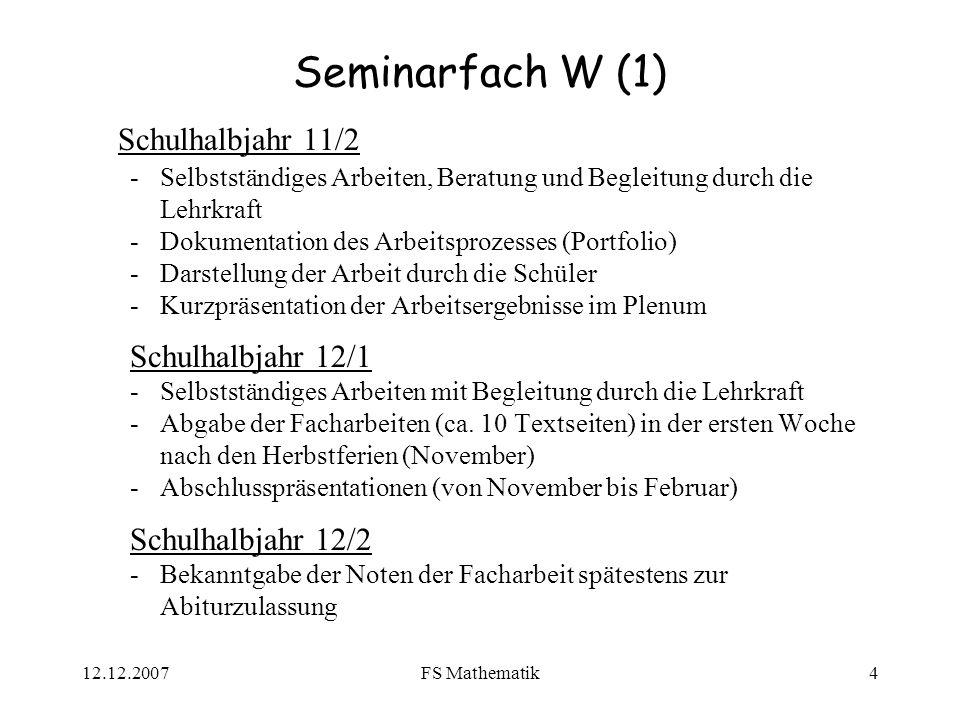 Seminarfach W (1) Schulhalbjahr 11/2 Schulhalbjahr 12/1