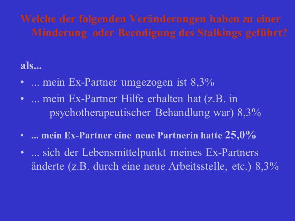 ... mein Ex-Partner umgezogen ist 8,3%