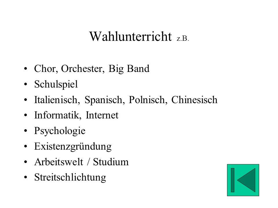 Wahlunterricht z.B. Chor, Orchester, Big Band Schulspiel