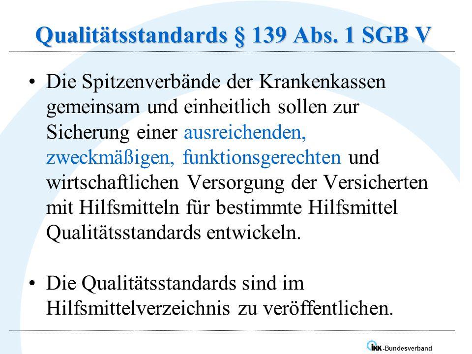 Qualitätsstandards § 139 Abs. 1 SGB V