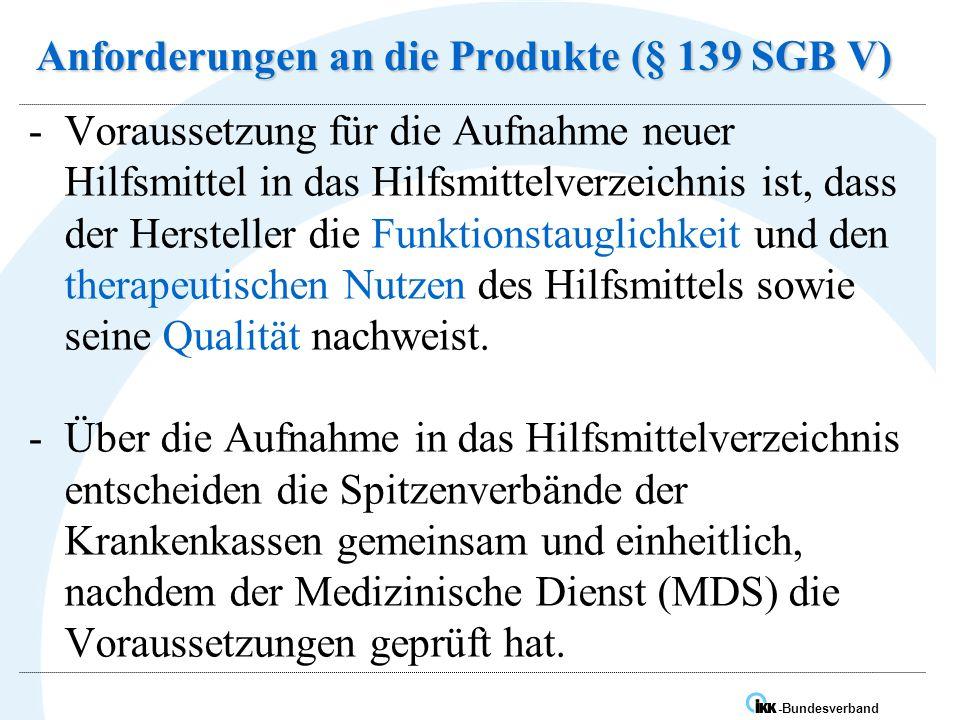 Anforderungen an die Produkte (§ 139 SGB V)