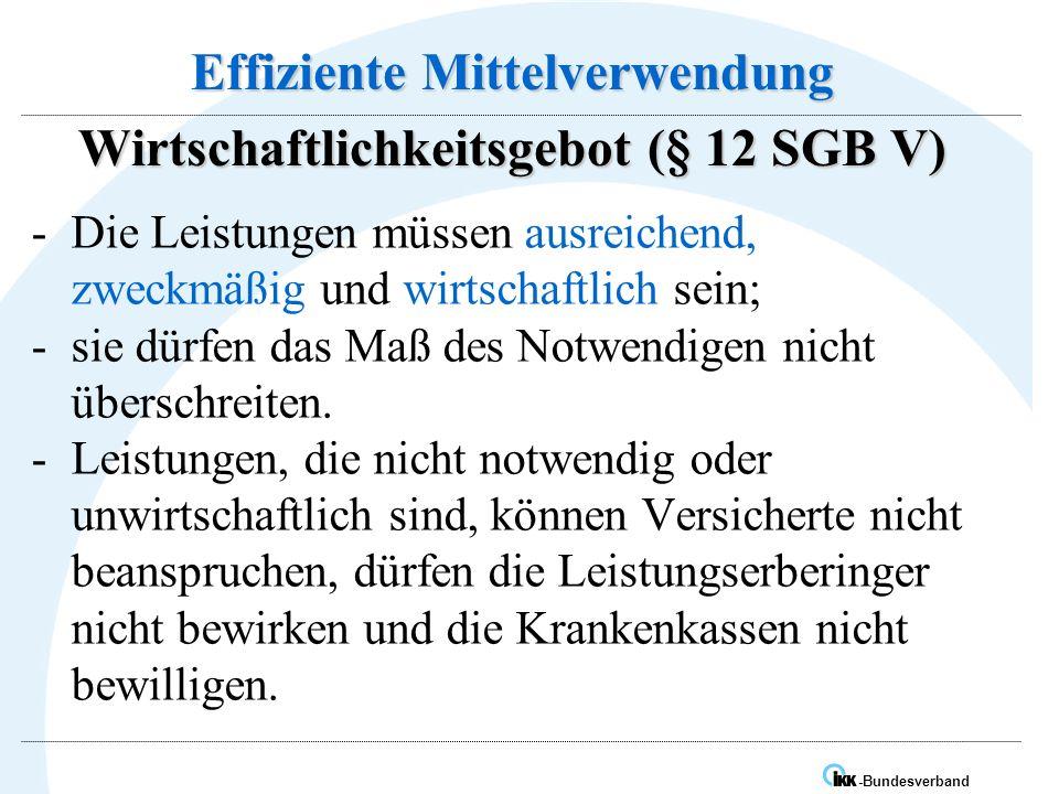 Effiziente Mittelverwendung Wirtschaftlichkeitsgebot (§ 12 SGB V)