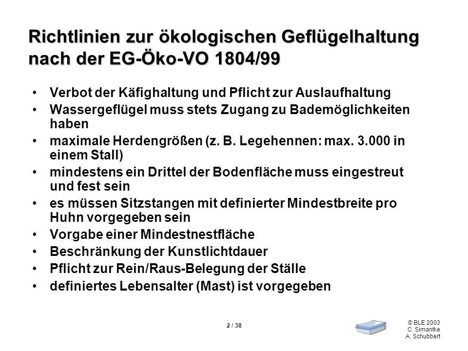 Richtlinien zur ökologischen Geflügelhaltung nach der EG-Öko-VO 1804/99