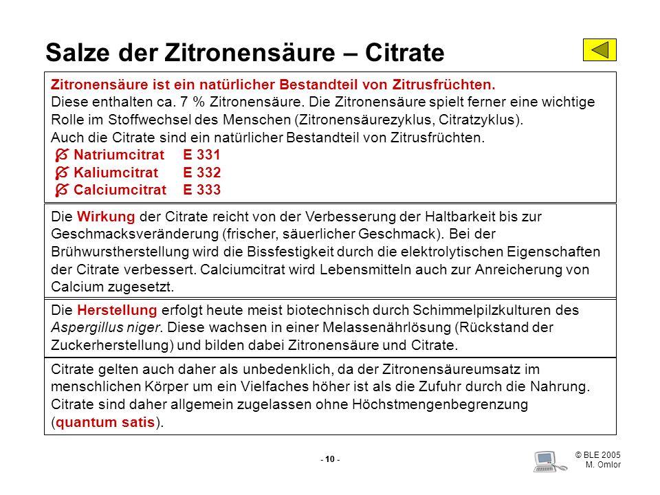 Salze der Zitronensäure – Citrate