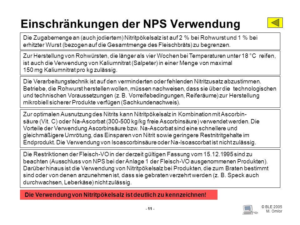 Einschränkungen der NPS Verwendung