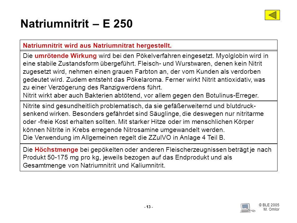 Natriumnitrit – E 250 Natriumnitrit wird aus Natriumnitrat hergestellt.