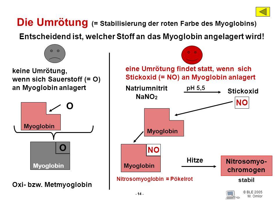 Die Umrötung (= Stabilisierung der roten Farbe des Myoglobins)