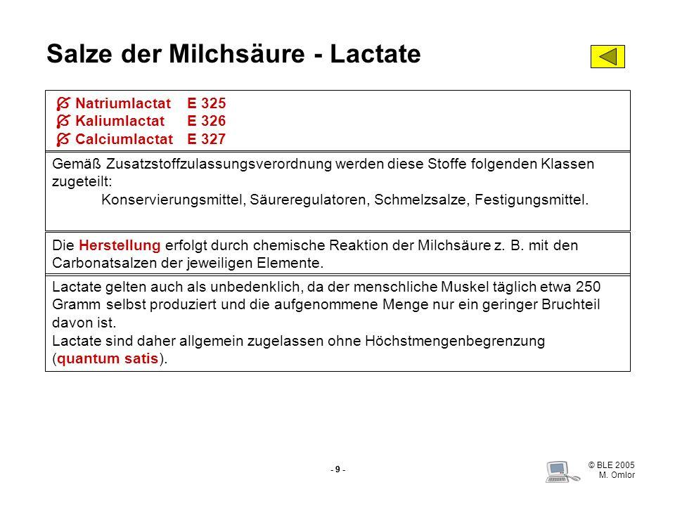 Salze der Milchsäure - Lactate