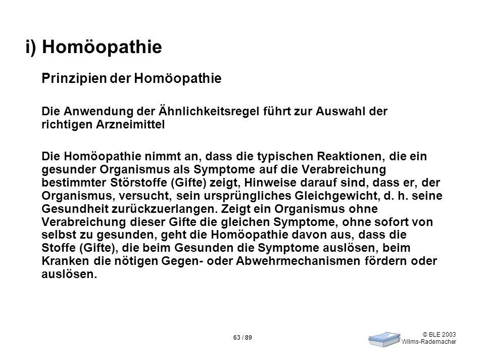 i) Homöopathie Prinzipien der Homöopathie